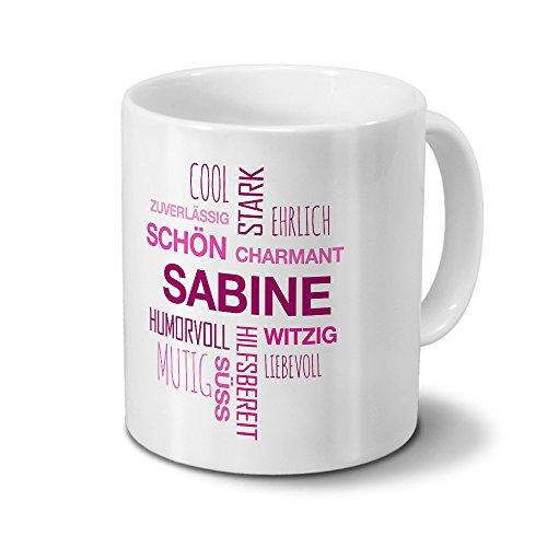 printplanet Tasse mit Namen Sabine Positive Eigenschaften Tagcloud - Pink - Namenstasse, Kaffeebecher, Mug, Becher, Kaffeetasse