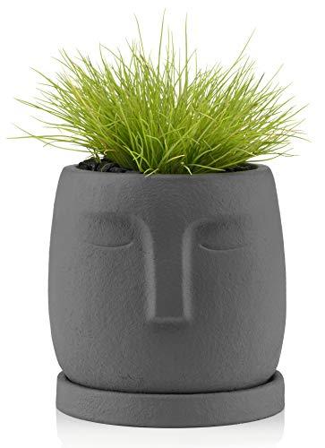 Blumentopf mit Untersetzer, Beton, Gesicht, Deko für Innen, Garten, 11cm, Grau