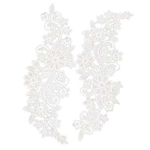 Ndier 1 par de Apliques de Encaje Floral 30x10cm Venecia Bordado Guipure Encaje de la Boda del Adorno del Ajuste de Blancos