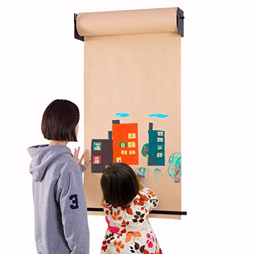 GHDE& Kraft Paper Roll Display - Wall Mounted Holder Dispenser met snijstang voor lijst, menu's, schilderijen, Desgin (zwarte beugel)