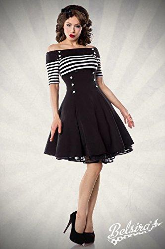 Schulterfreies Vintage-Kleid mit dekorativen Knöpfen und kurzen Ärmeln (Schwarz/Weiß/Stripe, Gr. M) - 2