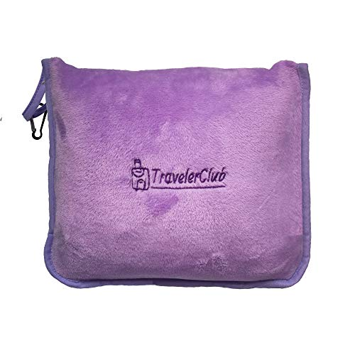 TravelerClub Travel Blanket Airplane Compact-Airline Lightweight Blanket-Plane Packable Travel Blanket and Pillow Set-Portable Hiking Blanket-Car Blankets and Throws-Camping/Backpacking/Office