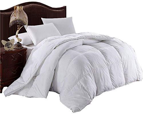Royal Hotel Edredón con mezcla de plumas y plumón de ganso, 300 hilos, 100 % algodón sólido, 600 fp, relleno de 1.8 – 2 kg, Blanco, California King, 1