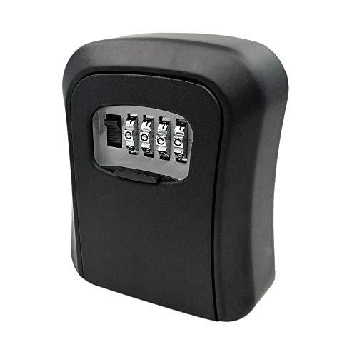 Gesh Caja de llave de contraseña negra montada en la pared, aleación de zinc, resistente a la intemperie, combinación de 4 dígitos