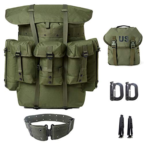Military Surplus Rucksack Alice Pack,Army Survival Combat Field Backpack with Frame and Alice Butt Pack,Tactical Belt Olive Drab