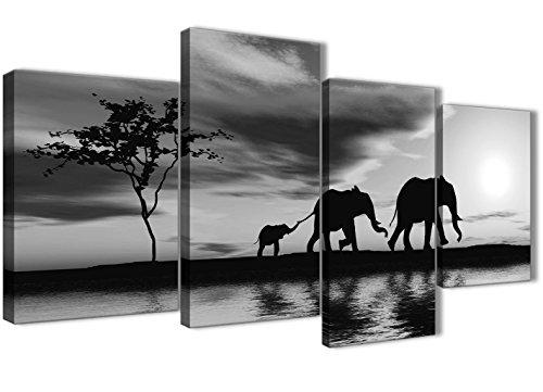 Grande Noir Blanc Coucher de soleil africain éléphants sur toile Art Print – Ensemble de Multi 4–130 cm de large – 4363 Wallfillers