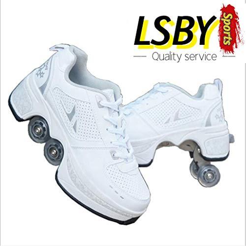 LSBY Roller Skates for Women 4 Wheel, Inline Skate, 2-in-1 Multi-Purpose Shoes, Adjustable Quad...