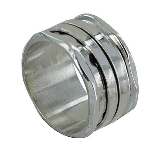 Schmuck Les Poulettes - Sterling Silber Ring Hammered Rohr und Zwei Mobile Ringe - grobe 54 (17.2)