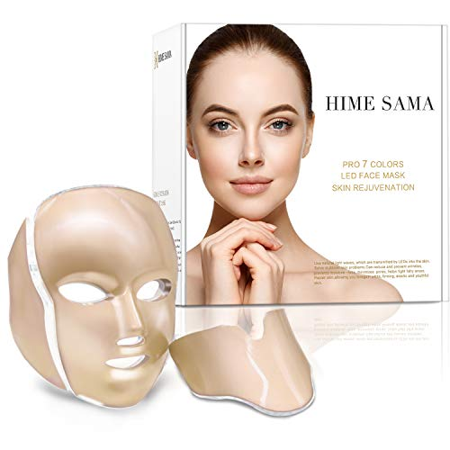 HIME SAMA Led Skin Mask, Pro 7 Color Led Face Mask Skincare for Face and Neck, Facial Care Mask & Optical Cosmetic Mask Portable for Home and Travel Use