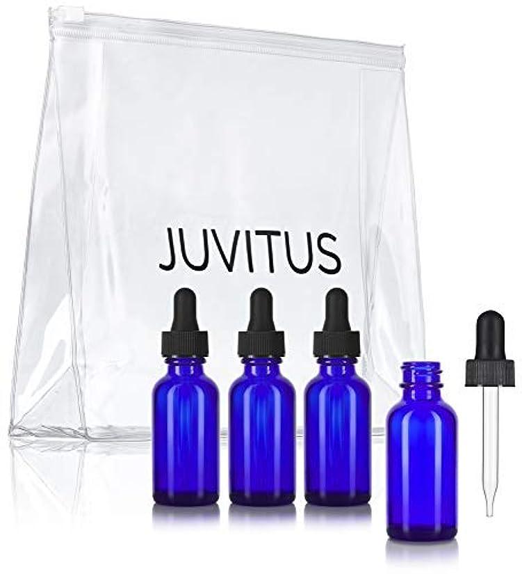 ハーブライン祭りCobalt Blue Glass Boston Round Dropper Bottle - 1 oz (4 Pack) + Clear Travel Bag for Essential Oils, Aromatherapy, e-Liquid, Food Grade [並行輸入品]