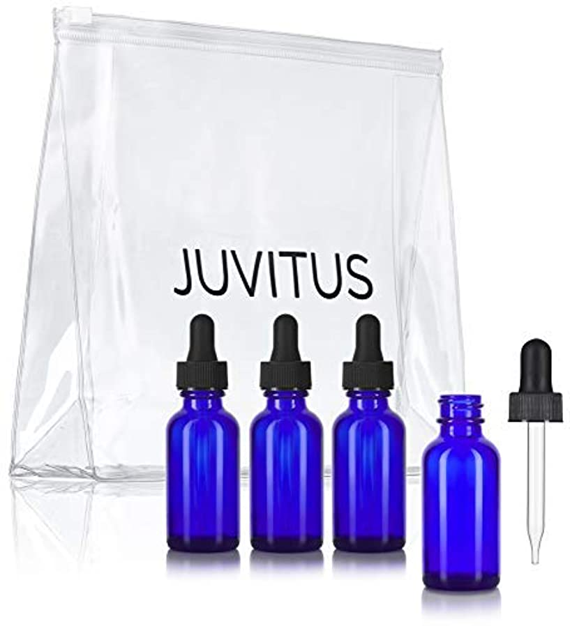 日食れる共和国Cobalt Blue Glass Boston Round Dropper Bottle - 1 oz (4 Pack) + Clear Travel Bag for Essential Oils, Aromatherapy, e-Liquid, Food Grade [並行輸入品]