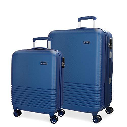 El Potro Ride Juego de maletas Azul 55/70 cms Rígida ABS Cierre combinación 114L 4 ruedas dobles Equipaje de Mano