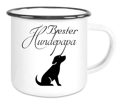 Crealuxe Emaille Tasse mit Rand Bester Hundepapa - Kaffeetasse mit Motiv, Campingtasse Bedruckte Email-Tasse mit Sprüchen oder Bildern