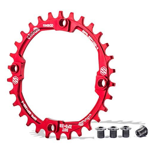 EASTERN POWER Plato 30 Dientes BCD 104, Plato BCD 104 Bicicleta Montaña, Aluminio Monoplato 30 Dientes MTB, Rojo(Incluye 4 Tornillos Plato) 🔥
