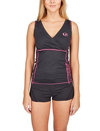 Ultrasport Damen-Funktions-Sport-/Fitness-Shirt mit Quick-Dry-Funktion, Schwarz/Pink, L