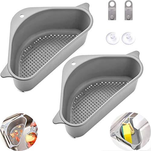 Sink Strainers Basket, 2Pcs Sink Drain Shelf Triangular Corner Kitchen Sink Strainer Sink Storage Holder with Suction Cup for for Kitchen Bathroom (Gray)