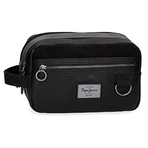 Pepe Jeans Miller Neceser Dos Compartimentos Adaptable Negro 26x16x12 cms Piel Sintética