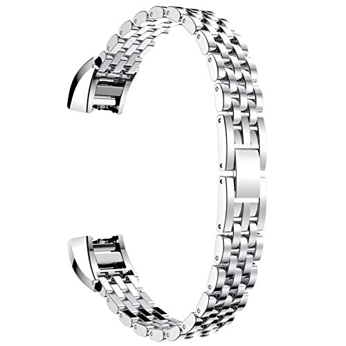 for Fitbit Alta HR/Alta Bands, TenYun Classy Fitbit Fitness Wristband Smart Watch Stainless Steel Adjustable Replacement Accessory Bands Strap for Fitbit Alta HR/Fitbit Alta Bands(Silver)