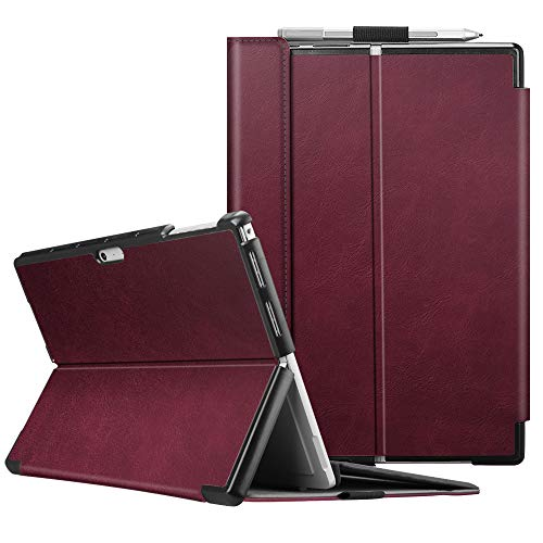 Fintie Case for Microsoft Surface Pro 7 Compatible with Surface Pro 6 / Surface Pro 5 12.3 Inch Tablet, Hard Shell Slim Portfolio Cover Work with Type Cover Keyboard (Burgundy)