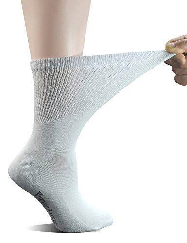 Yomandamor Women's 5 Pairs Non-Binding Cotton Crew Diabetic/Dress Socks with Seamless Toe and Cushion Sole