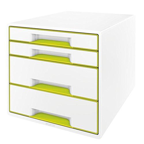 Leitz 52132064 WOW CUBE Schubladenbox, 4 Schubladen, grün metallic