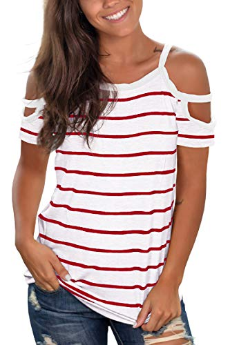 Jescakoo Womens Striped Short Sleeve Tops Summer Cold Shoulder T Shirts Red S