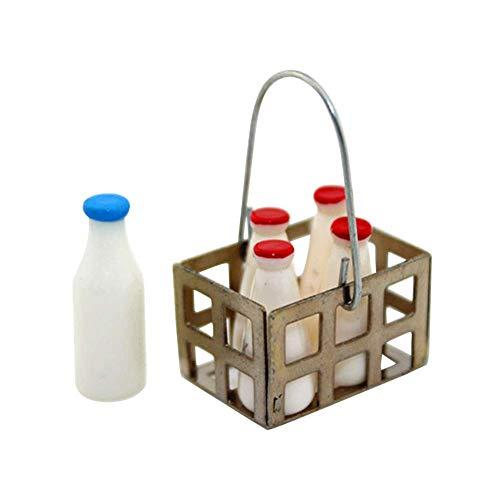Vektenxi1/6 1/12 Miniatur milchflasche Korb puppenhaus zubehör Pretend Play Spielzeug hohe qualität