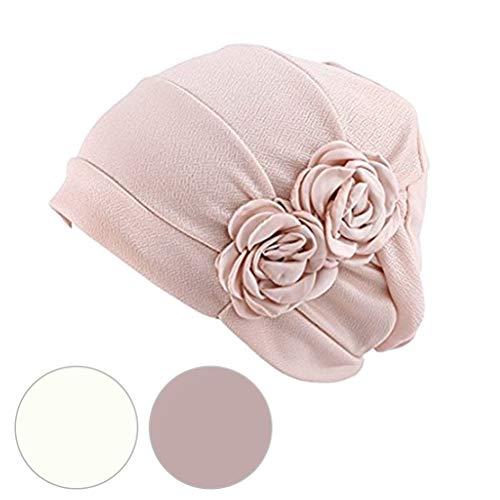 Beaupretty chapéu feminino de algodão para quimioterapia ondulado com flor para câncer, turbante de sono paciente (cor aleatório bege)