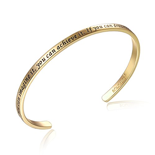 Solocute Gold Damen Armband mit Gravur If You Can Imagine It, You Can Achieve It. If You Can Dream It, You Can Become It Inspiration Frauen Armreif Schmuck