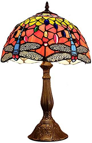 YHQKJ Lámpara de Tiffany, Vidrio Creativo de la libélula del país, lámpara Decorativa Junto a la Cama del Dormitorio for el café de la Sala de Estar (Size : 50cm)