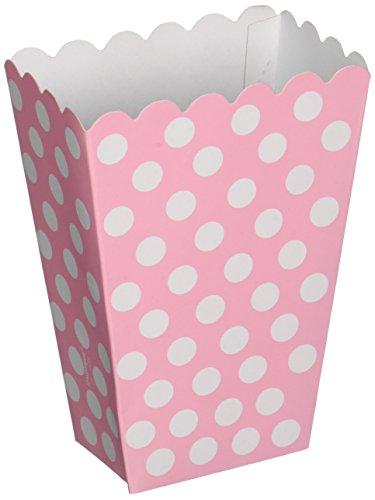 Unique Party-Paquete de 8 cajas para palomitas a lunares, color rosa claro, (59298)