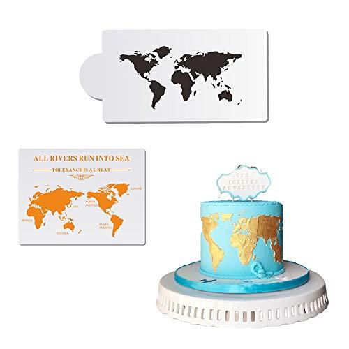 EORTA 2 Stück Kuchenschablonen mit Weltkarten-Design, hohler Druck, Kuchen-Deko, Blumenrand, zum Zeichnen, Spitzen-Dekoration, Kunststoff, für Bastelarbeiten, Hochzeit, Geburtstag, Party