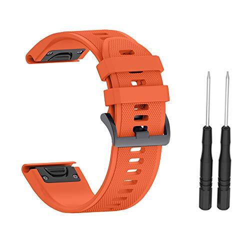 LEEBA - Correa de repuesto para reloj Fenix 3/3HR, Fenix 5X/5X Plus, 26 mm de ancho, silicona suave