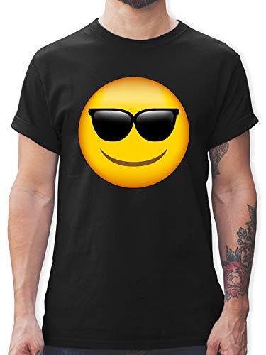 Comic Shirts - Emoticon Sonnenbrille - XL - Schwarz - Shirt lustig Junge - L190 - Tshirt Herren und Männer T-Shirts