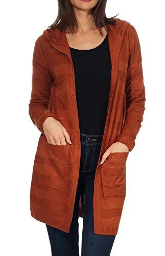 Hailys Damen Kapuzen-Cardigan Liana Feinstrick-Jacke TD-1811036 Caramel S