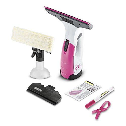 Kärcher Akku Fenstersauger WV 2 Premium Pink Ribbon Edition (Akkulaufzeit: 25 min, 2x wechselbare Absaugdüsen - breit und schmal, Sprühflasche mit Mikrofaserbezug, Fensterreiniger-Konzentrat 20 ml)