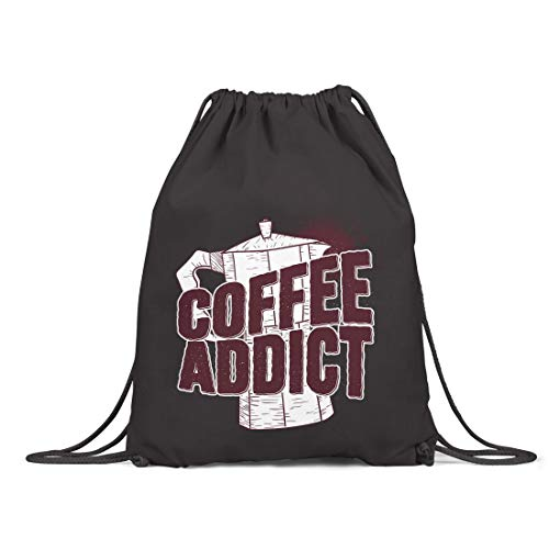 BLAK TEE Coffee Addict with Kettle Illustration Organic Cotton Drawstring Gym Bag Black