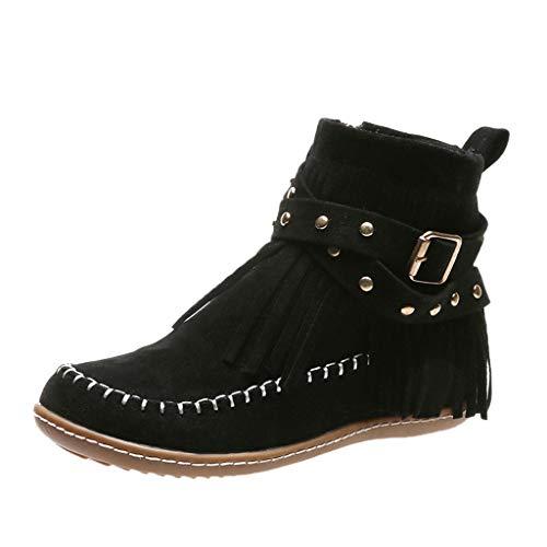 RQWEIN Womens Suede Flock Ankle Boots Fringe Tribal Pattern Fringe Moccasin Ankle Booties Cowboy Western Fringe Boot (Black,10.5