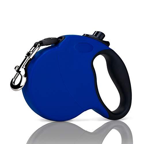 SlowTon Einziehbare Hundeleine, 16ft Tangle Free & Heavy Duty Walking-Trainingsleinen mit rutschhemmendem Griff, Einhandknopfbremse und -Schloss, ideal für kleine, mittelgroße Hundekatzen (L, Blau)
