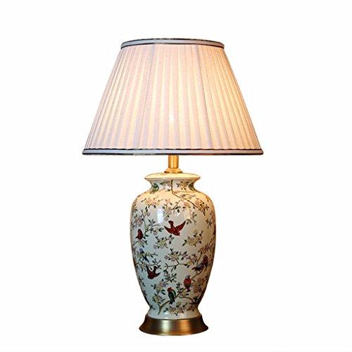 CKH lamp met bloem en vogel schilderij bureaulamp Villa Hotel klassiek keramiek tafellamp stof lampenkap koper onderaan
