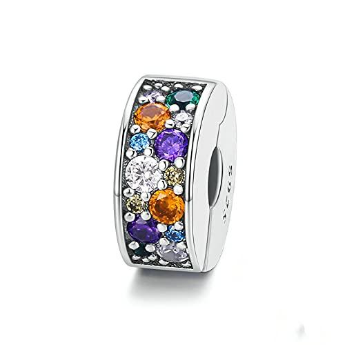 LISHOU Colorful Garden Rainbow Spacer Beads 100% 925 Sterling Silver Charms Colgantes para La Fabricación De Joyas Se Adapta Al Brazalete De Pulseras Originales De Europa