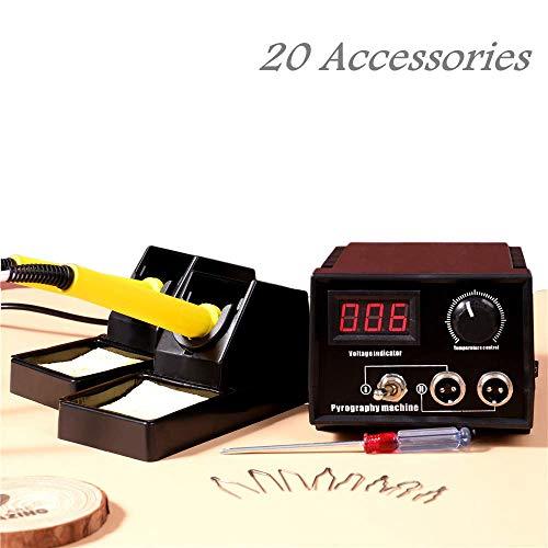 KKTECT Kit per legna Macchina pirografica regolabile da 60 W. Kit di strumenti pirografici professionali Kit di pirografia artigianale in legno zucca Per zucca di cuoio in legno