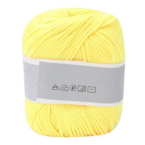Babymelk katoenen draad, populair babymelkgaren Dikke melkkatoenlijn Handmatig weven (met een haak)(yellow)