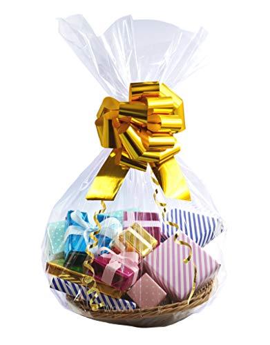 WOWFIT 첼로 가방 10 CT 24X30 인치 선물 바구니 선물 결혼식 신부 | 아기 소나기 등을위한 완벽한 셀로판 가방 선물 | 아기 소나기 등 (1.2 MIL 평면 마치 24X30 인치 리본이 포함되어 있지 않음)