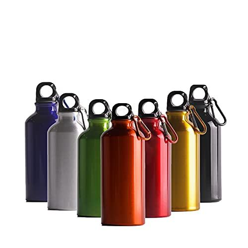 Cieffe Borraccia in Alluminio con Gancio e Tappo a Vite - Bottiglia Riutilizzabile Comoda e Leggera per Trekking ,Camping, Softair (arancione,400ML)