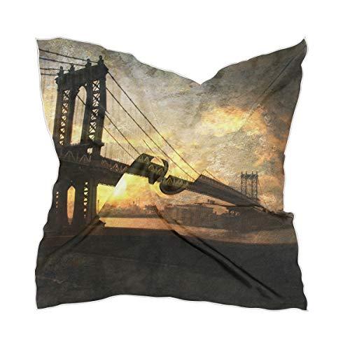 XiangHeFu zijden sjaal halsdoek transparante chiffon hoofdtooi Bridge Skyline Night Cityscape dunne hoofddoek