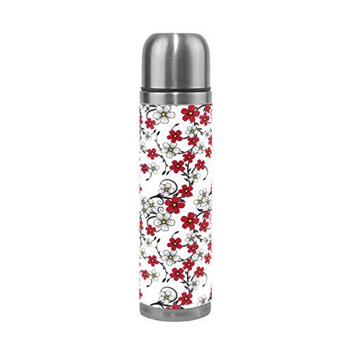 Ahomy Bouteille Isotherme à Double paroi en Acier Inoxydable Motif Floral Rouge et Blanc 0,5 l