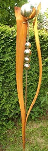 Gartendekoshop24 Rost Stecker Lilia 200cm groß mit 5 Edelstahlkugeln