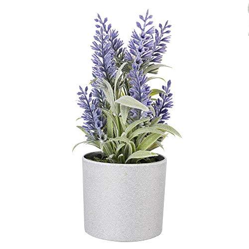 EBUYOM Mini Artificial Lavender Flowers Floral Arrangements Faux Plants Flower Potted Plants Home Office Decoration Wedding Decor