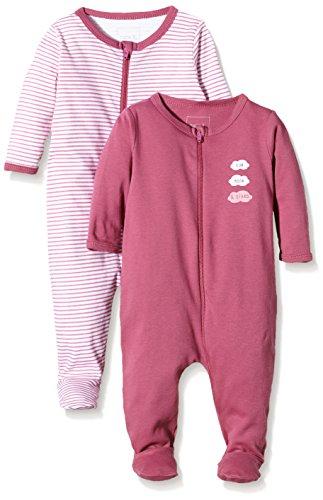 NAME IT Baby-Mädchen NITNIGHTSUIT ZIP W/F NB G NOOS Schlafstrampler, Mehrfarbig (Red Violet), 62 (2er Pack)